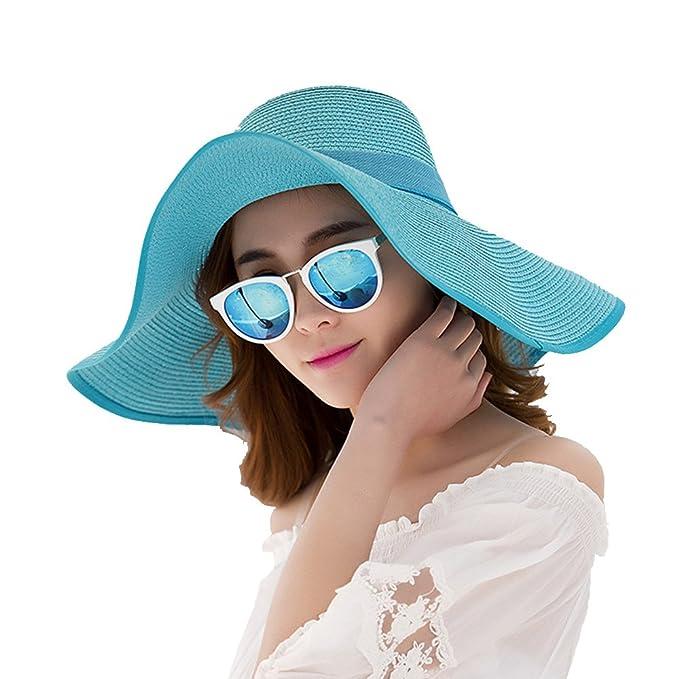 Summer Beach Hats Donna Big Bowknot Cappello di paglia Pieghevole a tesa  larga Cappuccio solido Lady Cappello da sole Cappello da spiaggia Blu   Amazon.it  ... 0787222be39c