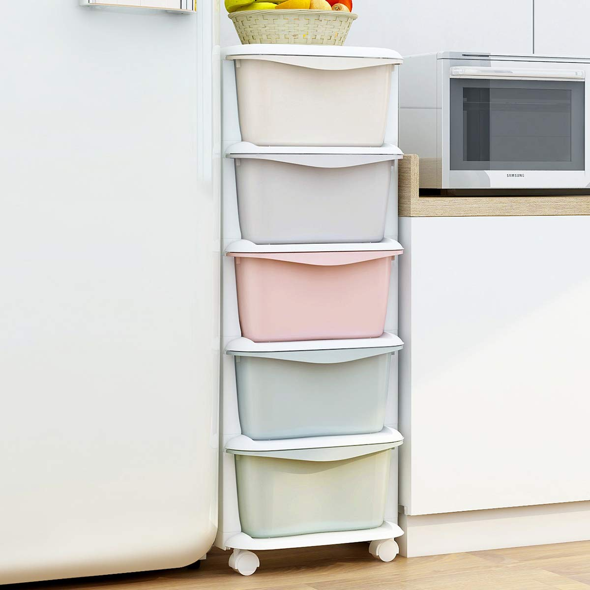 Nafenai Baby Storage Organizer, Cute Multicolor Drawer Storage Cart for Kids Bedroom, 5 Drawers-14.57'' L x 14.96'' W x 38.19'' H by Nafenai (Image #2)
