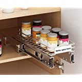 Mecete Slide Out Spice Rack Cabinet Organizer Professional Roll Out Organizers, Chrome (4 Inches-One Tier)