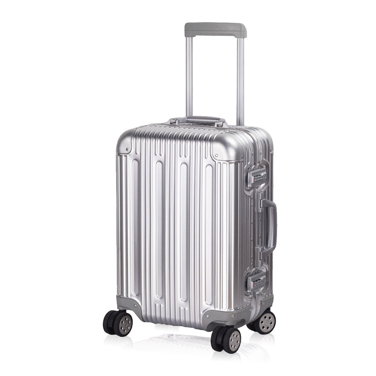 Carry on Spinner Suitcase 20 inch Travel Luggage Upright All Aluminium TSA Approved Hardside Trolley with Double Wheels and Free Travel Organizer for Air Trip Weekenders by TravelKing (Silver) by TravelKing