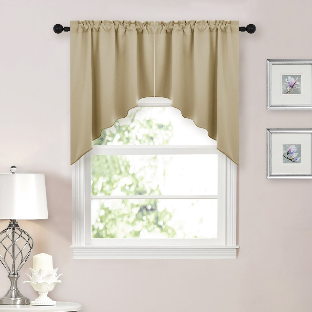 NICETOWN Half Window Kitchen Tier Curtains- Tailored Scalloped Valance/Swags for Living Room (1 Set, 29