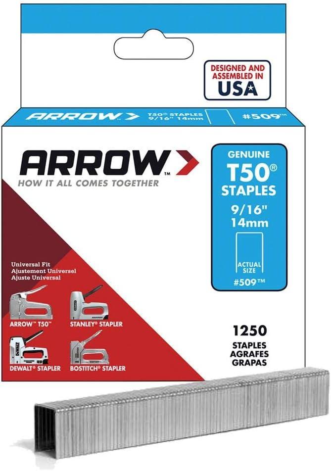 B00004Z2I4 Arrow Fastener 509 Genuine T50 9/16-Inch Staples, 1,250-Pack 61lOmT2xZ-L