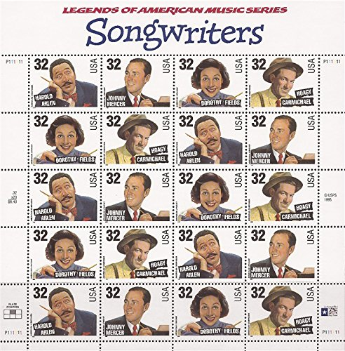 Songwriters Sheet of Twenty 32 Cent Stamps Scott 3103a by USPS
