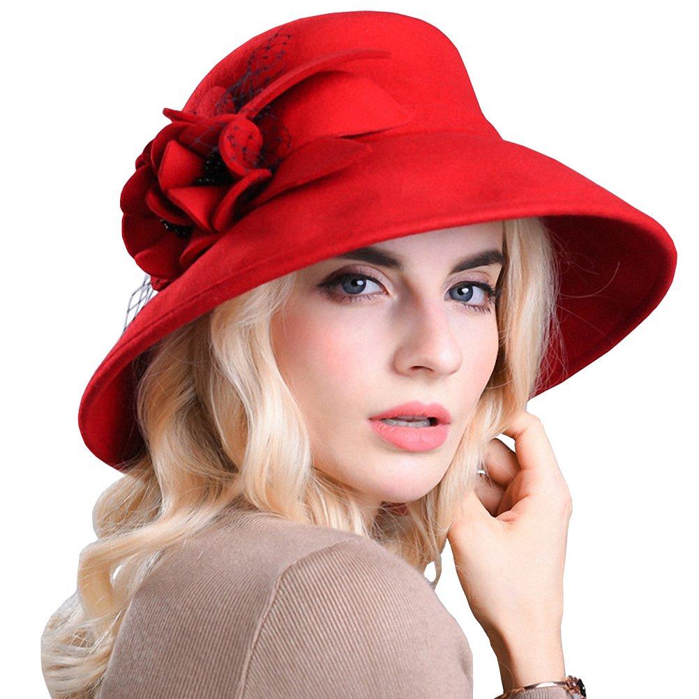 Maitose reg; Women's Wide Brim Wool Felt Bowler Hat 17305-black-0
