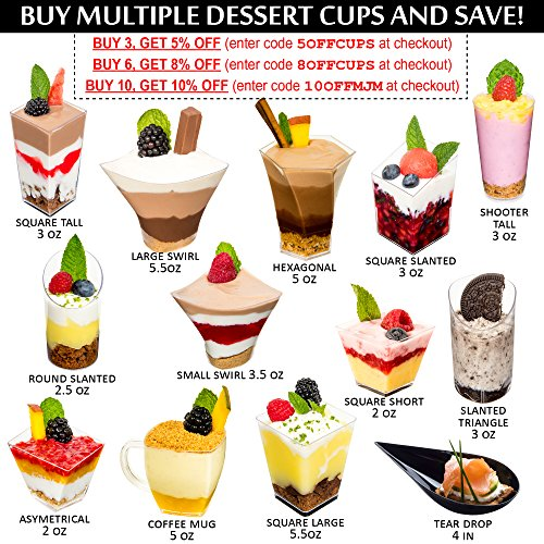 DLux 28 x 3 oz Mini Dessert Cups with Spoons, Slanted Triangle - Clear Plastic Parfait Appetizer Cup - Small Disposable Reusable Serving Bowl for Tasting Party Desserts Appetizers - With Recipe Ebook by DLux (Image #5)