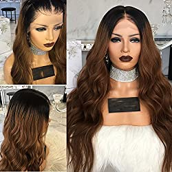 Carina Hair Full Lace Human Hair 8A Grade Wigs Ombre Brown 1B30 Color 130% And 150% Density Virgin Lace Front Wig with Baby Hair for Black Women by KRN (16inch, 130% density lace front wig)