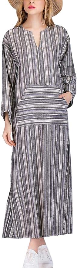 Vestido de Talla Grande de Lino y algodón para Mujer Vestidos ...