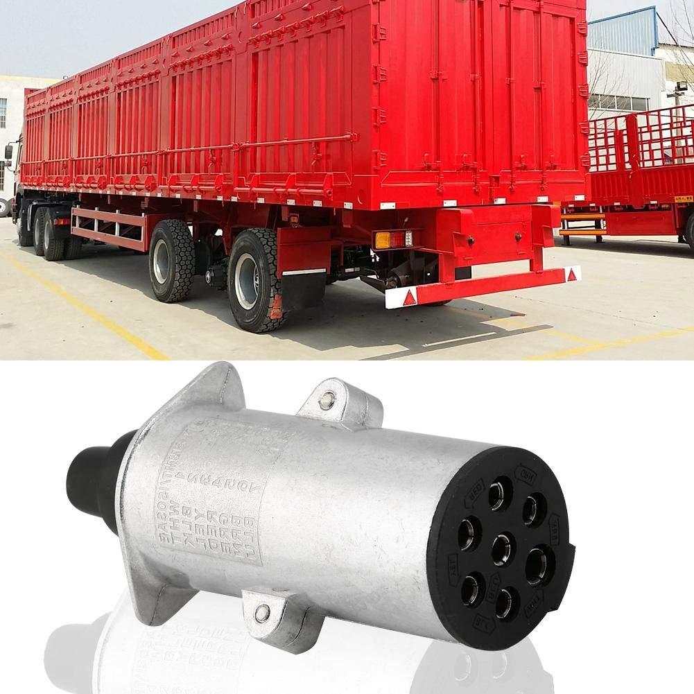 tipo europeo KIMISS Enchufe para remolque de 7 pines N Tipo 7 Enchufe redondo Conector de cableado para remolque de 7 polos Adaptador de remolque de aluminio para caravana de camiones de remolque