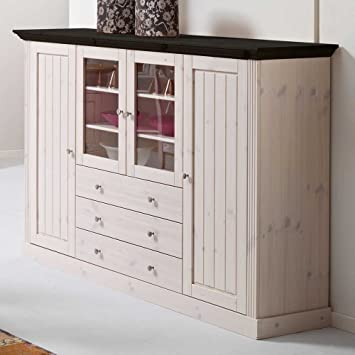 Pharao24 Kiefer Highboard in Weiß Landhausstil: Amazon.de ...