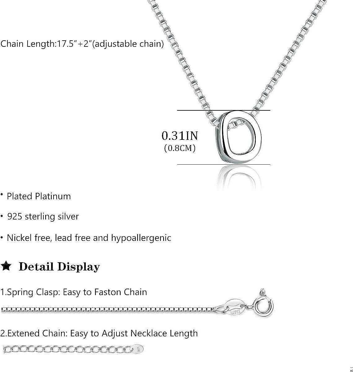 SIMPLOVE Collar de Iniciales Colgante de Letra AZ Colgante para Mujer Hombre, Plata de Ley 925 Collar Letras con Cadena 45cm