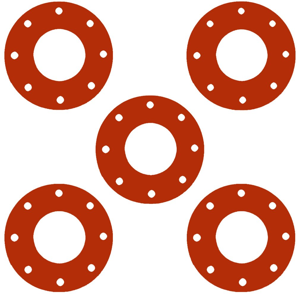 Sterling Seal CFF7237.5IN.062.150X5 7237 Red Rubber Full Face Gasket, 5.56'' ID, 5'' Pipe Size, 1/16'' Thick, Pressure Class 150# (Pack of 5) by Sterling Seal & Supply, Inc. (STCC)