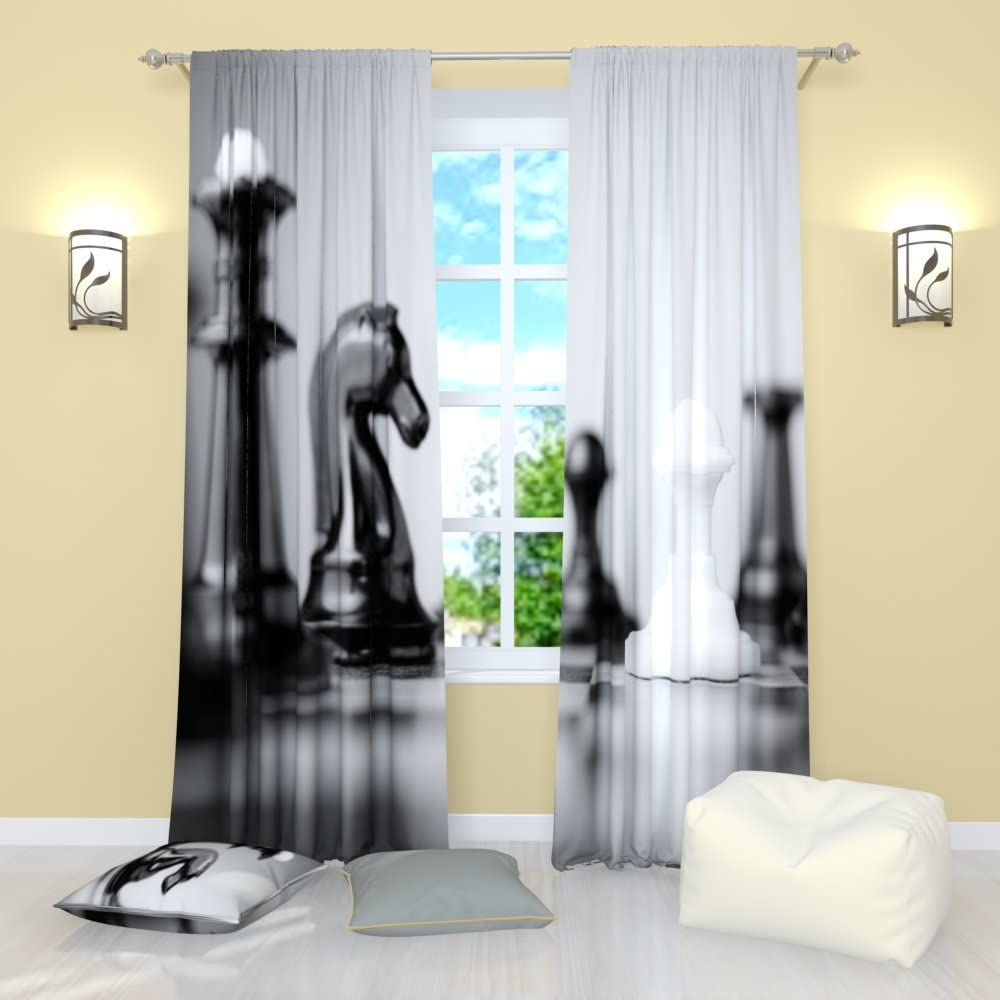 Facroty4me Chess Curtains, Board Game Chess Pieces Decor, Rod Pocket Room Darkening Window Panels Set of 2, 84 inches Long, Gray White and Black Curtains for Living Room Dining Room Bedroom Kitchen