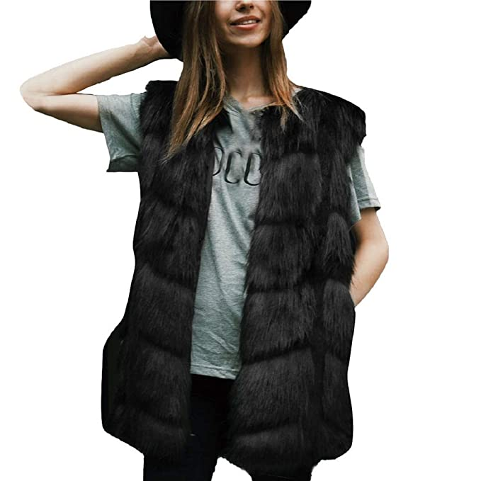 65c887d0a895 Women Faux Fur Waistcoat Duseedik Ladies Sleeveless Vest Fuax Fur Jacket Gilet  Shrug Coat Outwear Black