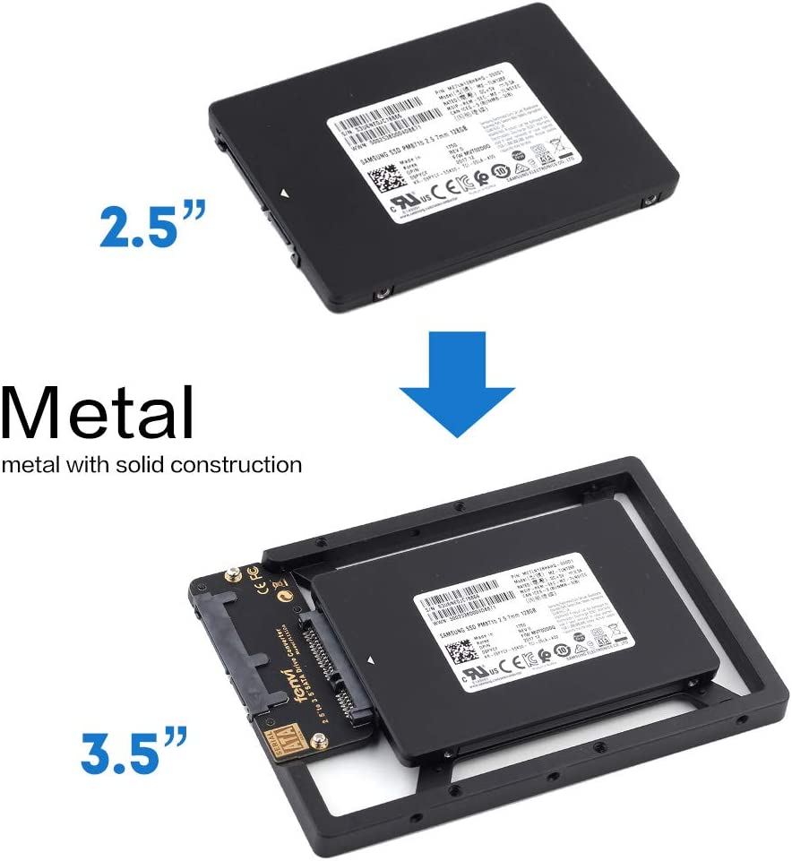 "2.5"" to 3.5"" Drive Converter Internal Solid State SSD Card Hard Drive Bracket Adapter SATA SSD Enclosure Caddy Dock Desktop Mac PC 2.5 to 3.5 Mounting Hardrive for Samsung Crucial SanDisk ect SSD"
