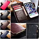 BeesClover ACM Genuine Luxury Leather Wallet Card Hold Case Cover for iPhone Samsung Back Rose red For Samsung Galaxy S6 Edge