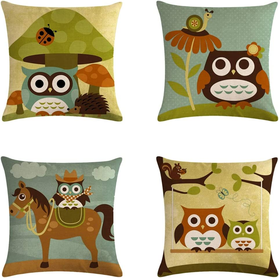 NMSL Cartoon Owl Pattern Pillowcase
