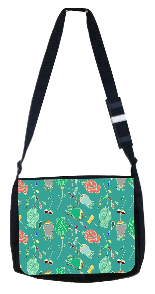 Tulip pattern Rosie Parker Inc TM Medium Sized Messenger Bag 11.75 x 15.5 and 4.5 x 8.5 Pencil Case SET