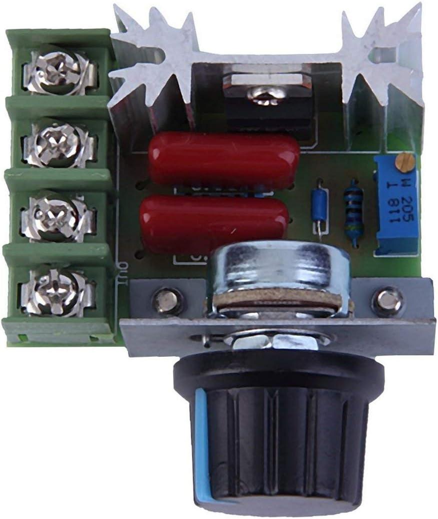 Greatangle Buena calidad 2000W AC 220V SCR Regulador de voltaje electr/ónico Controlador de control de velocidad Dimmer Termostato M/ódulo negro