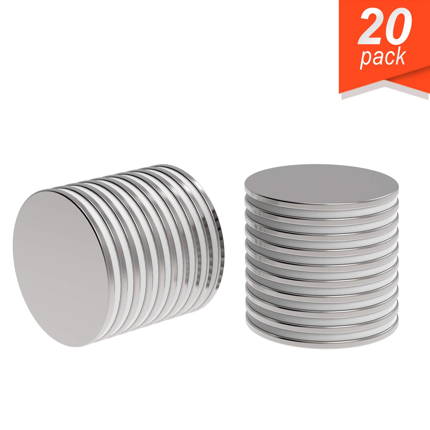 """Super Strong Neodymium Magnet N52 1.26 x 1/16"""" Permanent Magnet Disc, The World's Strongest & Most Powerful Rare Earth Magnets by Applied Magnets 20Pc"""