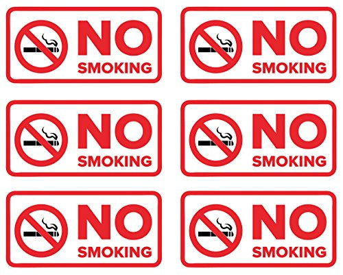 No Smoking Stickers | Decals for Indoor or Outdoor Use 4-inch by 2-inch (Pack of 6)