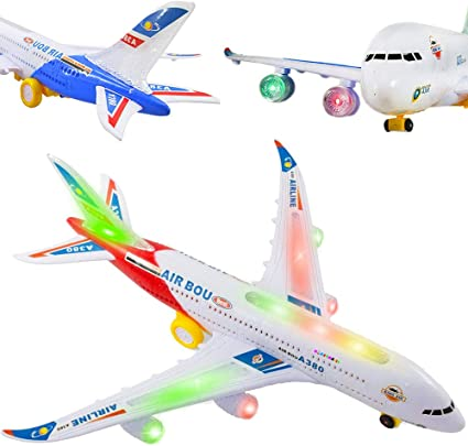 Kids Children Bump /& Go Lights /& Sound Plane Flashing Music Toys Electrical Boys