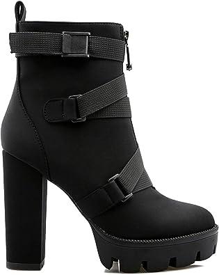Comfy Round Toe Zipper Chunky High Heel