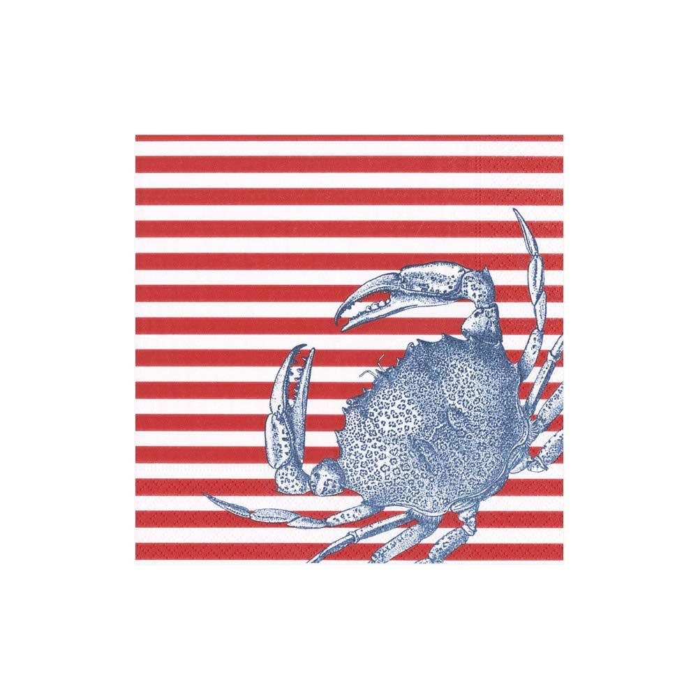 CaspariナプキンビーチパーティーClambakeペーパーナプキンカクテルナプキンレッドストライプCrab Pack of 20 レッド 14570C B0792RT6MH  Pack of 20