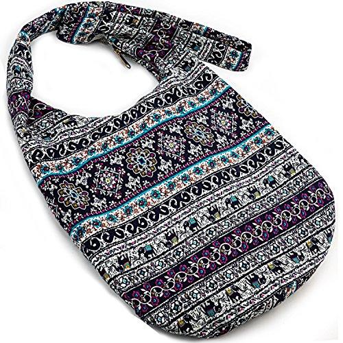 - Hippie Crossbody Bag Thai Top Zip Hobo Sling Bag Handmade Hipster Messenger Bag ( Red Tribe )