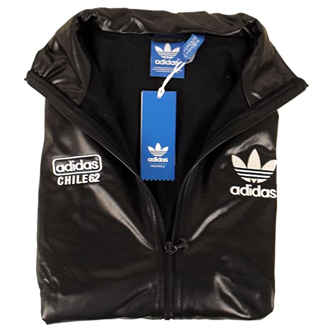 adidas Originals Mens Chile 62 TT Black Track Suit Top Jacket Retro Wet Look TT1