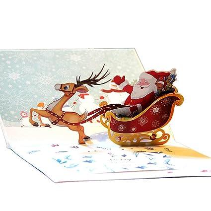 1 unids 3D Pop Up Tarjeta de Felicitación Tarjeta de Navidad ...