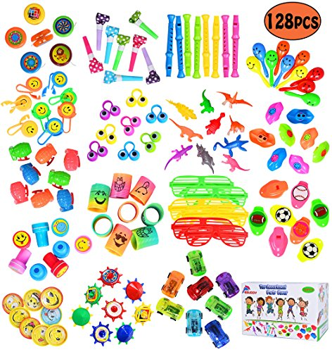ebuddy Euddy 128Pc Carnival Prizes Toy Assortment for Kids Party Favor, Birthday Party, School Classroom Rewards, Pinata, Christmas, Festival and holiday Gifts - Carnival Assortment