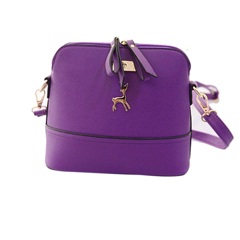 WugeshangmaoLeather Handbag for Women Deals,Women's Shoulder Bag Casual,Teen Girls' Vintage Small Shell Messenger Bags Purple