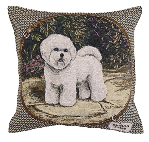 Bichon Frise Tapestry (Set of 2 Dog Bichon Frise Decorative Square Tapestry Throw Pillows)