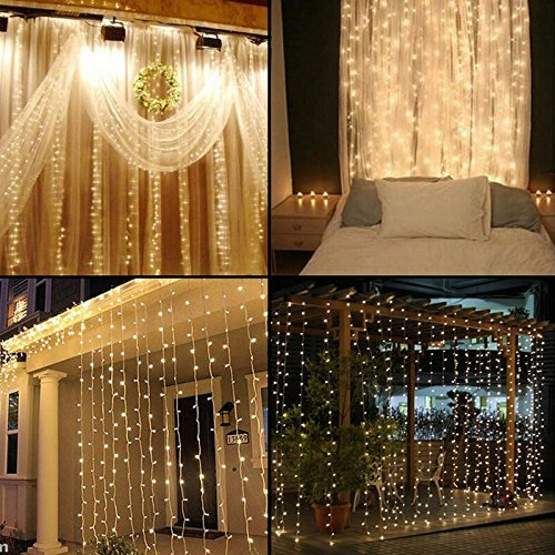 Miss.AJ 304 LEDS warm white Window Curtain Icicle Lights, 3m 3m String Fairy Starry Twinkle Stars Lights for Wedding Party Home Patio Lawn Garden Bedroom Outdoor Indoor Wall Lights