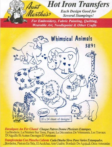 Whimsical Animals Aunt Martha's Hot Iron Embroidery Transfer