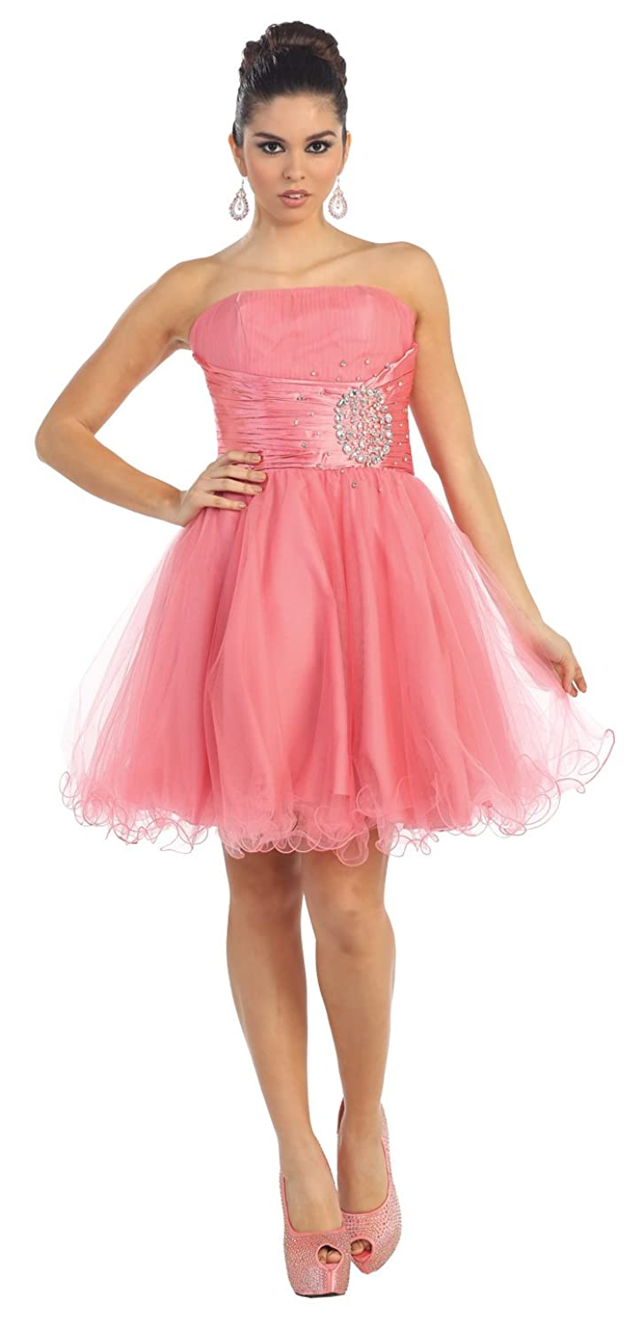 Amazon.com: US Fairytailes Strapless Cocktail Party Junior Prom ...