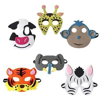 Amosfun 6 Piezas Máscara de Niños de Animal Elefante Mono ...