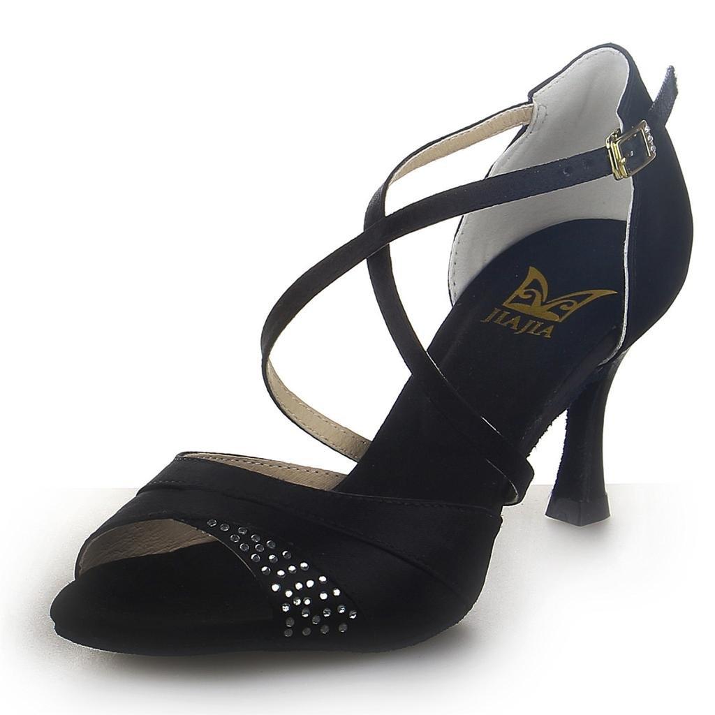 JIA JIA 20522 Sandali da Donna Latini 2.7 '' Tacco Svasato Super Satin con Scarpe da Ballo Strass