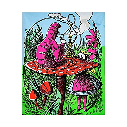 Opticz 1 X Alice In Wonderland Mushroom Caterpillar Blacklight Reactive Cloth Wall Hanging