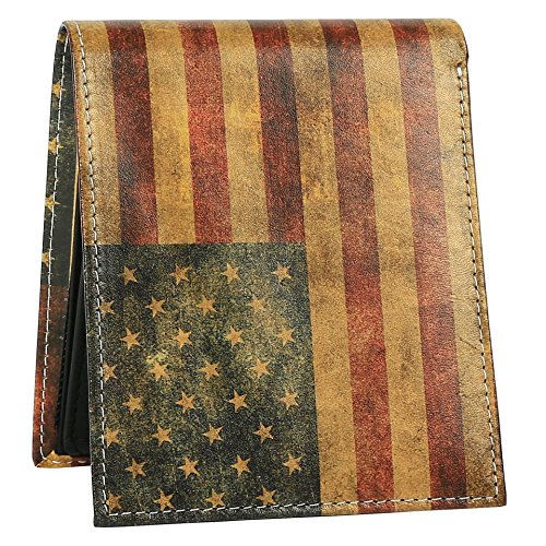 American Designs Stylish ID Window 2 Flag Bifold Genuine Printed Men for Wallet Leather Wallet with Unique qOPv6pxnw