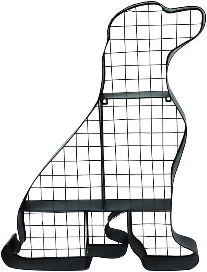 XUEYAN Estante de Pared Estante de Hierro Forjado Decoración de la Pared Modelo de Perro Rack de Almacenamiento (Negro, 65 * 52.5 * 10.3CM)