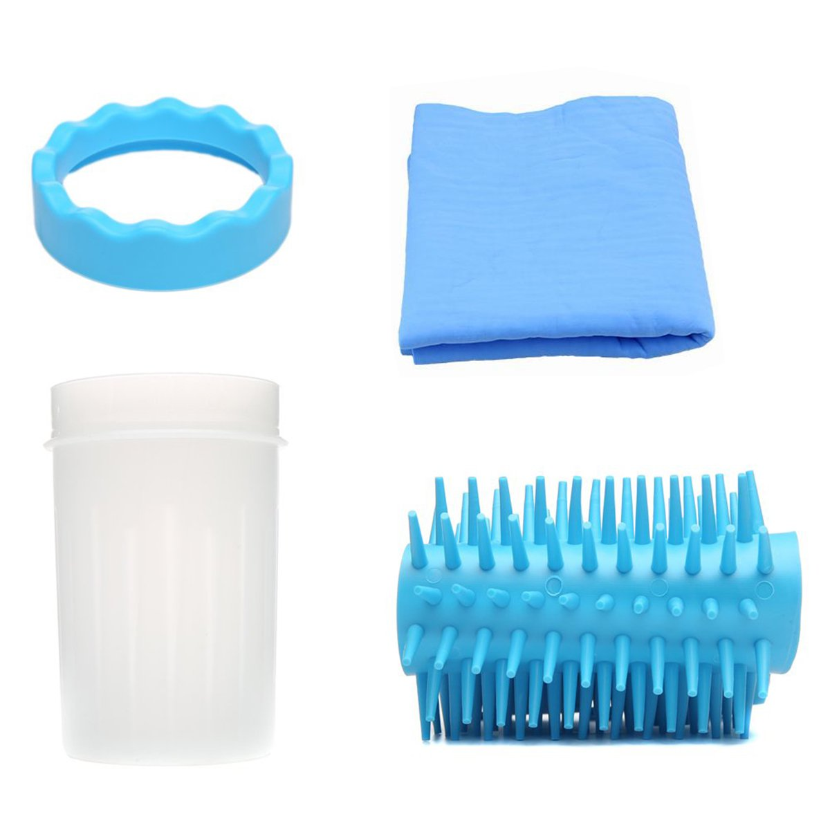 Avivnor Dog Paws Pet Feet Protable Washer Silicone Pet Paw Cleaner Brush Cup with Towel (Medium, Blue)