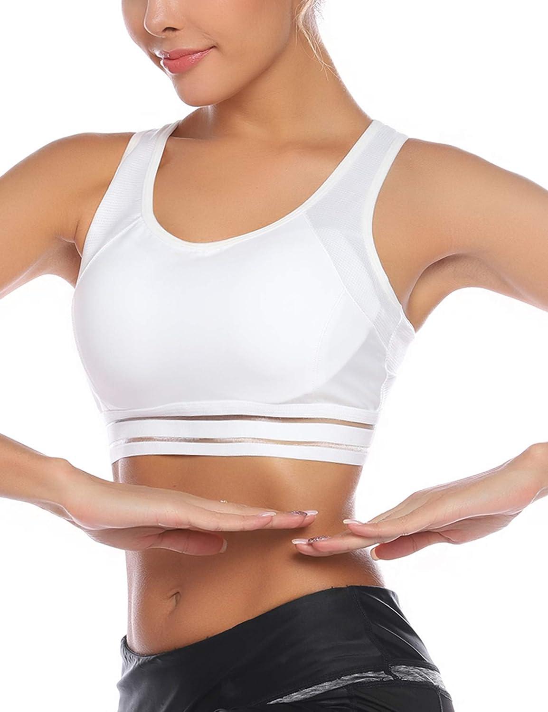 Aibrou Reggiseno Sportivo per Spugna Rimovibile per Fitness Corsa Tennis Running Yoga Palestra