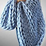 Light Blue Large Knitted Chunky Blanket,Super Chunky Blanket,Wool Handmade Bed Throw,Xmas New Year Gift
