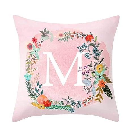 Amesii - Funda de cojín con diseño de Letras Rosas para sofá, Cama, decoración del Coche