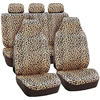 FH Group FB125BROWN115 Brown Classic Leopard Car Seat Cover Airbag Compatible And Split Bench