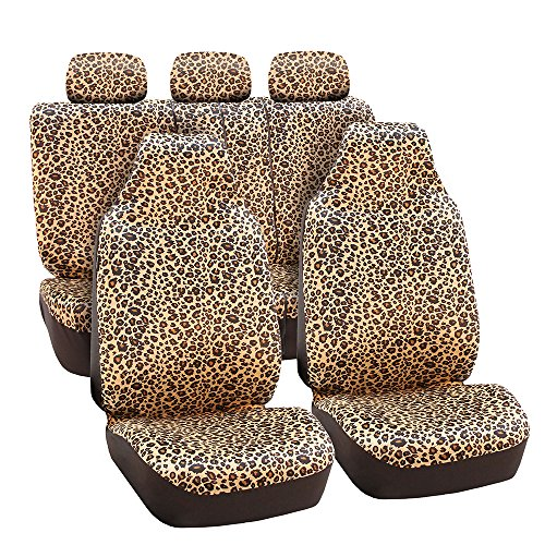 - FH Group FB125BROWN115 Brown Classic Leopard Car Seat Cover (Airbag Compatible and Split Bench)