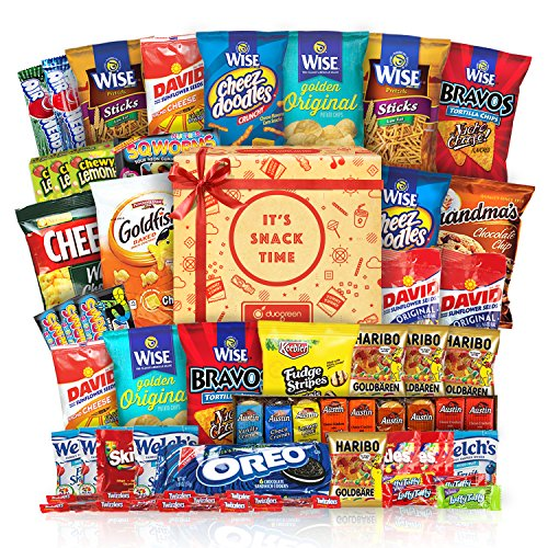 [Care Package Gift Set Party Box Bundle Cookie Chips & Candies 50 Count] (Get Well Cookies)
