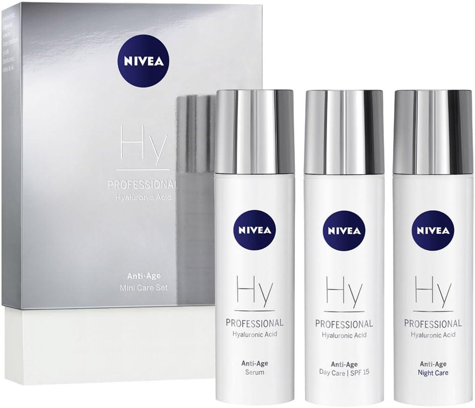 NIVEA PROFESSIONAL Ácido hialurónico, kit en tamaño pequeño, crema de día con protector solar 15, crema de noche y sérum facial antiarrugas, pack de 3 unidades (3 x 10 ml)
