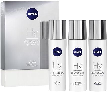 NIVEA PROFESSIONAL Ácido hialurónico, kit en tamaño pequeño, crema de día con protector solar 15, crema de noche y sérum facial antiarrugas, pack de 3 unidades (3 x 10 ml): Amazon.es: Belleza